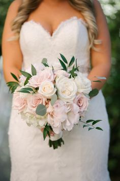 Bridal Portrait with Blush and White Rose and Peony Bouquet with Greenery