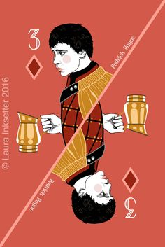 Game of Thrones Playing Cards - 3 of Diamonds (Podrick Payne) Game Of Thrones Cards, Game Of Thrones Quotes, Game Of Thrones Funny, Hbo Game Of Thrones, Playing Cards Art, Playing Card Games, Familia Stark, Jaqen H Ghar, Eddard Stark