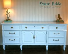 Extra Long White Lacquer Hollywood Regency Dresser by ExeterFields, $995.00
