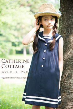 子供服 袖なしセーラーワンピース  紺 カジュアル 100-150cm   カジュアルワンピース