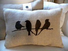 Birds on branch burlap hessian pillow cushion cover by TheNestUK Burlap Pillows, Cute Pillows, Sewing Pillows, Decorative Pillows, Throw Pillows, Cushion Covers, Pillow Covers, Bird Theme, Bird On Branch