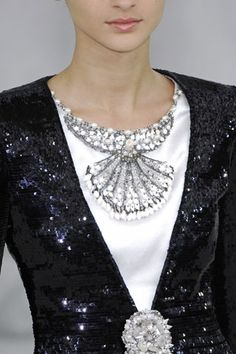 Chanel~ Black and white sequins