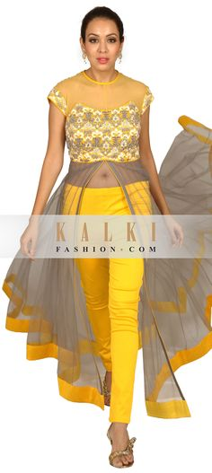 Buy Online from the link below. We ship worldwide (Free Shipping over US$100) http://www.kalkifashion.com/grey-and-yellow-anarkali-suit-embellished-in-zardosi.html