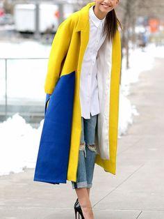 Yellow+Blue+Long+Sleeve+Lapel+Color+Block+Coat+67.46