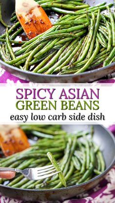 Carb Spicy Asian Green Beans Stir Fry - the keto side dish takes only 10 minutes and 4 ingredients!Low Carb Spicy Asian Green Beans Stir Fry - the keto side dish takes only 10 minutes and 4 ingredients! Asian Green Beans, Stir Fry Green Beans, Fried Green Beans, Cooking Green Beans, Asian Vegetables, Low Carb Vegetables, Veggies, Vegetable Side Dishes, Vegetable Recipes