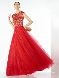 A-line Scoop Sleeveless Chiffon Prom Dresses