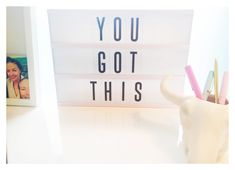 You got this! Motivational lightbox for the perfect creative and motivating home office or study. Adorbs. Lightbox from Typo, skull pencil older from Typo, pens from ban.do.