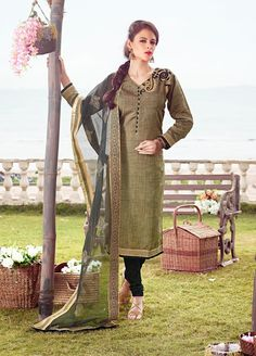 Green Color with Boarder Chanderi Salwarsuit