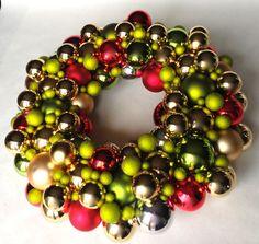 How To ~ Christmas Glass Ball Wreath