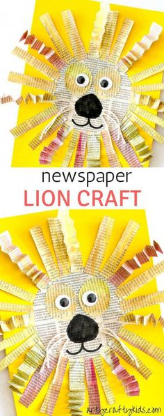 Arty Crafty Kids Art Mixed Media Newspaper Lion Craft A roarsome Lion craft for kids. Animal Crafts For Kids, Winter Crafts For Kids, Easy Crafts For Kids, Toddler Crafts, Fun Crafts, Art For Kids, Projects For Kids, Arts And Crafts, Kids Animals
