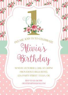 Shabby Chic 1st Birthday Invitation
