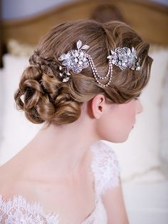 Edwardian Inspired Bridal headpiece Silver Crystal Chain Headdress by GildedShadows