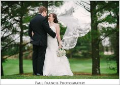Veil blowing in the wind photograph at Eagle Oaks Country Club, Farmingdale NJ Wedding Photographer {Rachel and Alan}