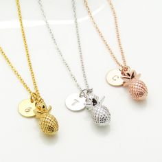 dainty pineapple charm necklace personalised initial necklace tropical pineapple jewelry best friend gifts summer jewellery summer accessories
