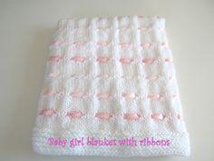 Baby girl blanket with ribbon - baby girl blanket - baby blanket by MariskaPatterns on Etsy