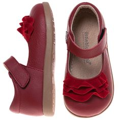 Kidz Shooz - Little Blue Lamb Real Leather & Suede Red Toddler Shoes