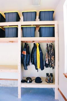 DIY Garage Shelves — Modern Builds The Ultimate Garage Storage / Workbench Solution. By: Mike Montgomery Garage Storage Shelves, Garage Storage Solutions, Garage Shelf, Garage Organization, Storage Ideas, Organization Ideas, Diy Overhead Garage Storage, Garage Closet, Garage Doors