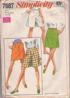 MOMSPatterns Vintage Sewing Patterns - Simplicity 7687 Vintage 60's Sewing Pattern CLASSIC Retro Mod Twiggy Shaped Hip Yoke Mini Skirt, Culottes Shorts, Pantskirt Set Waist 25.5