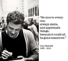 you will be missed. rip cory monteith It's nearly been one year since the work lost a great man! Cory Monteith will always be in my heart! Love you forever..