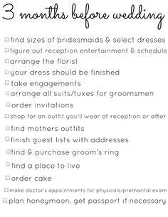 3 Months Wedding Planning Checklists