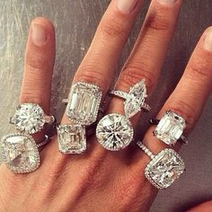 A selection of diamond engagement rings I Love Jewelry, Fine Jewelry, Fancy, Dream Ring, Diamond Are A Girls Best Friend, Beautiful Rings, Jewelry Accessories, Wedding Rings, Engagement Rings