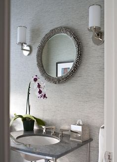 bathroom with gray grasscloth wallpaper, gray ruffled round ...
