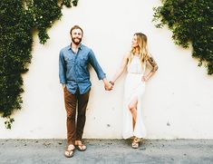Whimsical engagement shoot featuring neutral tones