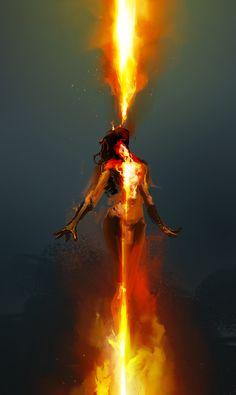 "cobaltplasma: "" Feeding the Fire, 30min. spitpaint, Photoshop CS6 "" Dark Fantasy Art, Breathing Fire, Art Noir, Fire Art, On Fire, Throne Of Glass, Dark Phoenix, Jean Grey Phoenix, Story Inspiration"