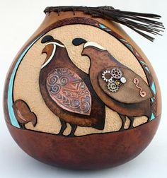 Creative Quail - gourds and metal gear work. Decorative Gourds, Hand Painted Gourds, Light Bulb Art, Wood Badge, Southwest Art, American Indian Art, Native American, Gourd Art, Button Art