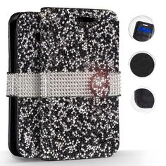 LG Stylo 3 Case, Zizo Diamond Bling Flap Cover - Wallet Pouch w/ Credit Card Slots And ID Holder - Slim Fit Protective Wallet Case - LG Stylo 3 Plus, Black