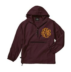Maroon Monogram Windbreaker Jacket - Personalized Waterproof Rain Jacket, Monogrammed Windbreaker Womens College Jackets Tailgating
