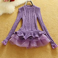 Autumn Winter Pullover Women Knitted Sweater 2016 New Korean Fashion Organza Patchwork Ruffled Bottom Peplum Tops Ladies Jumpers