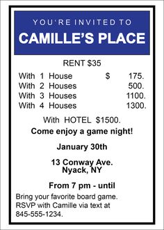 Printable Monopoly Game Night Party Invitation by DesignCaddie, $10.00