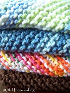 Artful Homemaking: Knitted Dish cloths