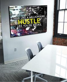 Business Wall Art: Think Like A Millionaire Canvas Hustle (Wood Frame Ready To Hang) Family Wall Art, Home Wall Art, Wall Art Decor, Canvas Wood Frame, Canvas Wall Art, Canvas Prints, Christian Wall Art, California, Office Art