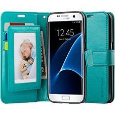 SUPTMAX Galaxy S7 Edge 対応 S7 Edge ケース 手帳 カード収納付き 横置きスタンド機能 Galaxy S7 Edge ケース Galaxy S7 Edge SC-02H ケースTPU 財布型 耐摩擦 耐汚れ 全面保護 (ターコイズブルー)