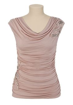 Maurices: Drape Neck Top with Stone and Lace (Misty Rose)
