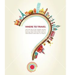 Where to travel question mark with tourism icons vector on VectorStock®
