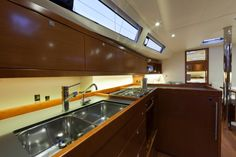 Beneteau Oceanis 41 Interior facing forward from the galley.