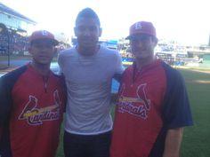 Jon Jay, Joshua T. Freeman & David Freese at Cardinals game in KC June 22, 2012