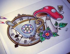 image découverte par melitikostop. Découvrez (et enregistrez !) vos images et vidéos sur We Heart It Body Art Tattoos, Sleeve Tattoos, Cool Tattoos, Tatoos, Creative Tattoos, Alice In Wonderland Mushroom, Tea Cup Drawing, Teacup Tattoo, Alice And Wonderland Tattoos