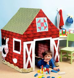 Sewing Pattern for Barn Playhouse, Kwik Sew # Boy/Girl Play Tent, Old McDonald's Playhouse Barn, Ellie Mae Design, Barn Playhouse, Card Table Playhouse, Playhouse Ideas, Indoor Playhouse, Kwik Sew Patterns, Mccalls Patterns, Kids Patterns, Home Crafts, Crafts For Kids