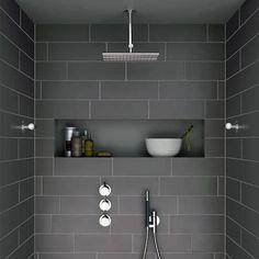 i like the shape – horizontal and roomy – of this shower niche … Ich mag die Form – horizontal und geräumig – dieser Duschnische Mehr Grey Bathroom Tiles, Bathroom Renos, Laundry In Bathroom, Basement Bathroom, Master Bathroom, Bathroom Ideas, Master Shower, Bathroom Designs, Bathroom Niche