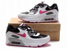 7af91297ececf1 Nike Air Max 90 Femmes Blanc noir et rose Chaussures