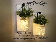 This listing is for a stunning Single or Set of 2 Hanging Wall Sconces! These sconces feature beautiful artificial eucalyptus greenery and fairy lights that are battery operated. They are so warm and charming and would make a great addition to any room in your home! These make a great