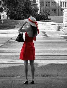 Lady In Red With Color Splash Photograph