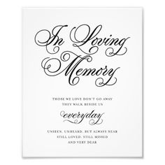 Classical | In Loving Memory Sign Photo Print