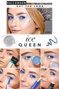 Channel your inner Ice Queen with this beautiful makeup look. Kiss Makeup, Makeup Art, Makeup Tips, Beauty Makeup, Hair Makeup, Glitter Makeup, Halloween Looks, Halloween Makeup, Halloween Costumes