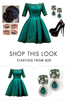 """Deep Soul"" by teodoramaria98 ❤ liked on Polyvore featuring Christian Louboutin, Heidi Daus, outfit and dress"