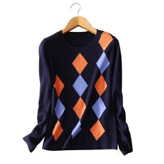 100% pure cashmere Women's pullovers knitted argyle O-neck long sleeves sweater warm autumn/winter outwear clothings